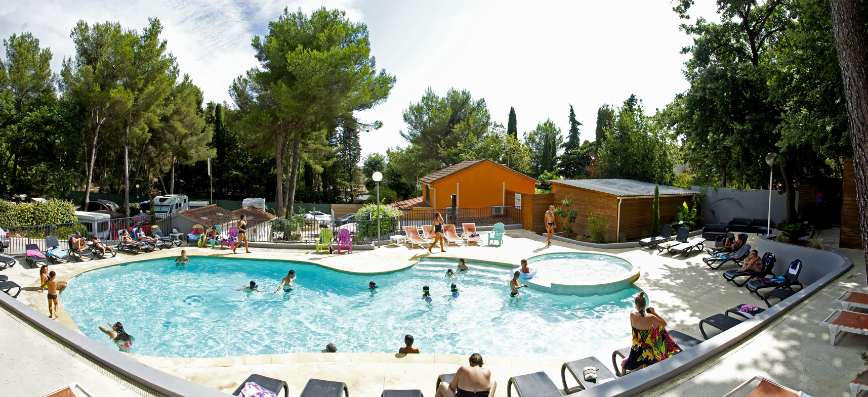 Camping Les Playes : Vue Piscine Panoramique
