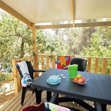 Camping Les Playes : STACARAVAN buitenkant Gaou