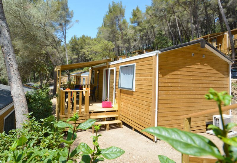 Camping Les Playes : Stacaravan buitenkant Mimosas